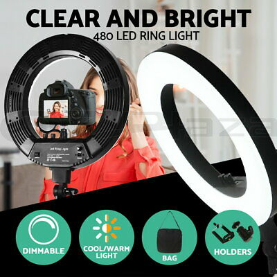 "19"" 5600K Dimmable LED Ring Light 480 LED with Diffuser Stand Make Up Studio BK"