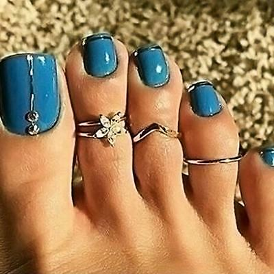 3PCs/set Celebrity Silver Daisy Toe Ring Casual Punk Style Finger Foot Jewelry