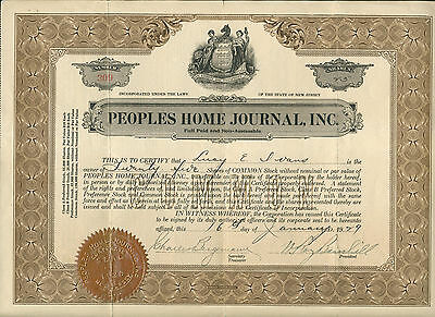 1929 Peoples Home Journal Inc New Jersey Stock Certificate