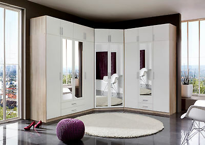 Qmax 'Space' Range German Made 3/4 Door & Corner Wardrobes.Alpine White & Oak