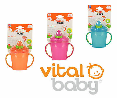 Vital Baby Free Flow Cup With Soft Flip Spout Pink Weaning Cups Baby Baby Bn