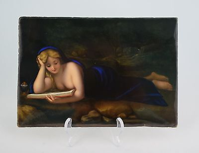 19thC KPM Porcelain Plaque The Penitent Mary Magdalene Berlin Correggio German