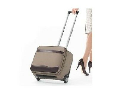 NEW Brookstone Rolling Office Wheeled Nylon Briefcase Bag Luggage Carry On Khaki