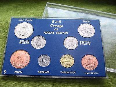 BRILLIANT UNC 1966 COINAGE OF GB SET OF 8 COINS 51st BIRTHDAY ANNIVERSARY GIFT