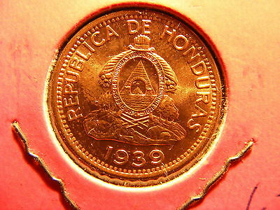 Honduras 2 Centavos, 1939, FULL RED UNCIRCULATED