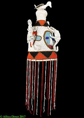 Yoruba Beaded Crown Adenla Nigeria White Blue Orange African Art 31 Inch