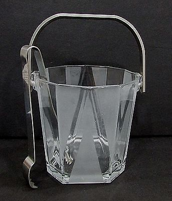Crystal Clear and Frosted Glass Ice Bucket w tongs FREE S/H