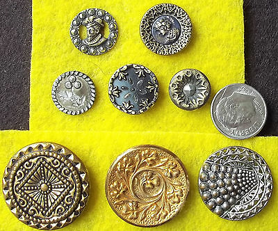 lot, 8 VICTORIAN BUTTONS brass cut steel, metal vintage antique ornate