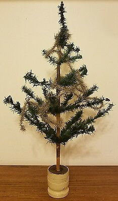 "Antique 1900's Germany 27"" Feather Christmas Tree Original Tinsel & Candle Cups"