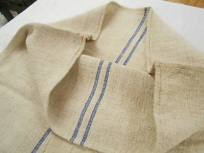 22X54 Vtg Antique INDIGO BLUE STRIPE French HEMP LINEN Fabric FEEDSACK GRAIN BAG