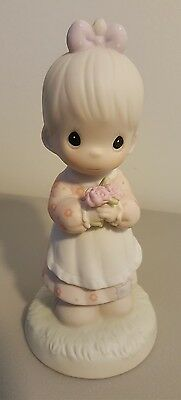 Enesco Precious Moments 1987 MOMMY I LOVE YOU Girl With Flowers 112143