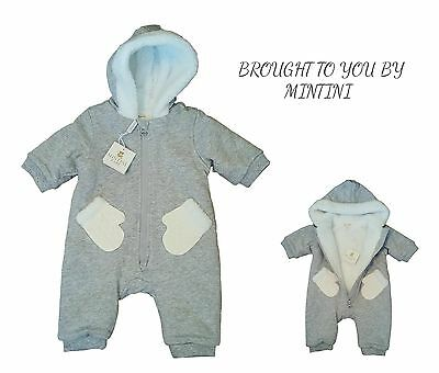 Baby Boys Pramsuit Snowsuit Winter Coat Warm Hooded NB-12m Boutique BNWT RRP £30
