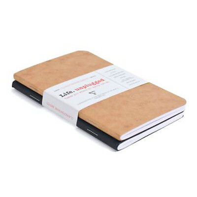 2 Clairefontaine Notebooks 3.5 x 5.5 Ruled, Black & Tan