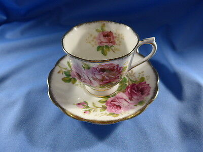 Vintage Royal Albert China  Footed  Cup and Saucer AMERICAN BEAUTY