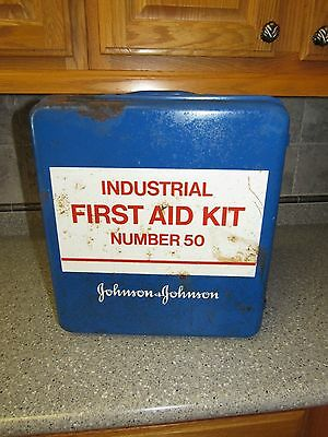 Vintage Johnson And Johnson Industrial First Aid Kit #50 Metal Box Cabinet HEAVY