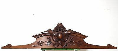 Hand Carved Wood Pediment Antique French Coat Of Arms Crest Mount Cornice Trim *