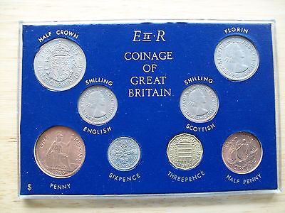 Coinage of Great Britain 1966 Florin Half Crown Shilling Sixpence E II R 8 Coins