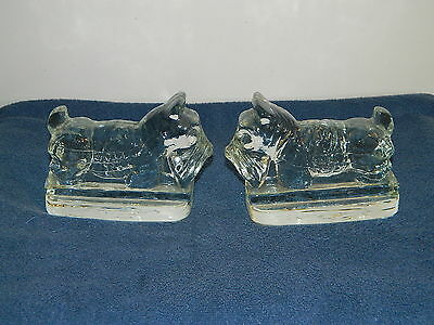 Pair Of Scottie Scottish Terrier Dog Bookends Clear Heavy Glass