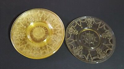 Hocking Glass Depression Yellow Ballerina Cameo 8 Sherbet Plates Saucers