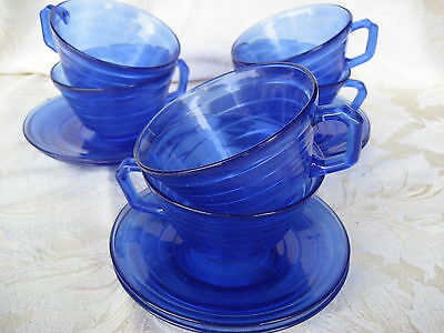 Fantastic Set of 6 Moderntone Cobalt Cups & Saucers