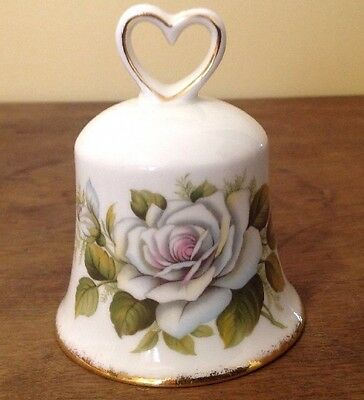 Golden Crown Bone China Bell with White Roses & Gold Trim - Made in England
