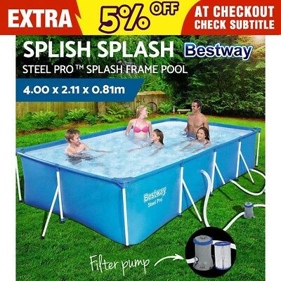 Bestway Steel Frame Above Ground Rectangular Swimming Pool Filter Pump 5700L