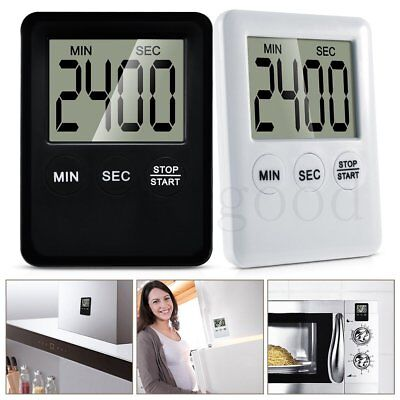 LCD Digital Kitchen Cooking Timer Count-Down Up Clock Alarm Magnetic Black&White