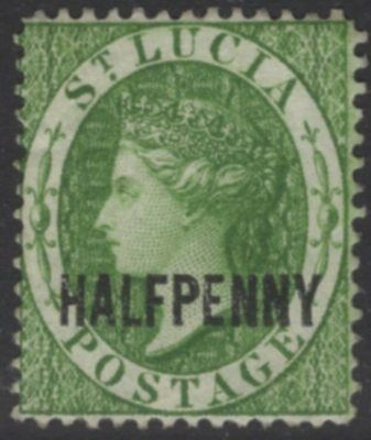 ST.LUCIA SG25 1882 ½d GREEN WMK CROWN CA MTD MINT