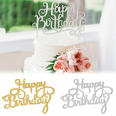 Shining Happy Birthday Party Supplies Decoration Cake Topper Paper Decoration