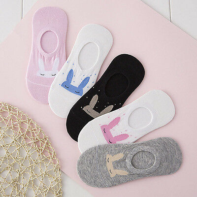 5Pairs Womens Loafer Boat Socks Invisible No Show Nonslip Liner Low Cut Cotton
