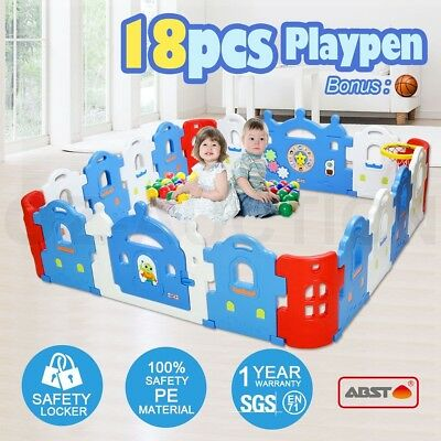 18-Sided Baby Playpen Castle-shaped Kids Toddler Safety Yard With Basketball Set