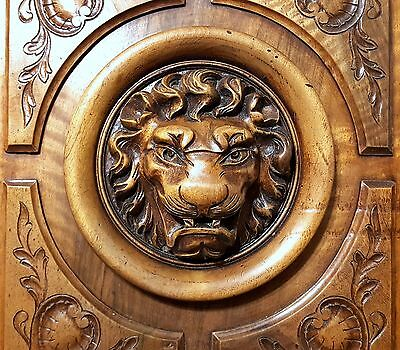 HAND CARVED WOOD PANEL ANTIQUE FRENCH MATCHED PAIR WALNUT LION SCULPTURE 19th