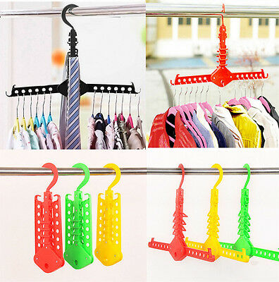 Dual Hanger Clothes Folding Rack Organizer Foldable Multifunction Storage UK