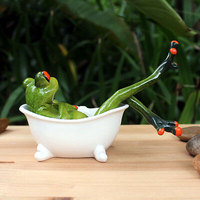 Sitting in Bathtub Figurines Green Resin Sculpture Desk Decor Frog Relaxation 39