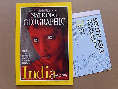 National Geographic Magazine - May 1997 - South Asia / India Map Included