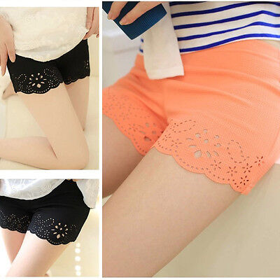 Women Lady Flat Mid Waist Short Pants Bottoms Safety Pants Casual Loose Shorts