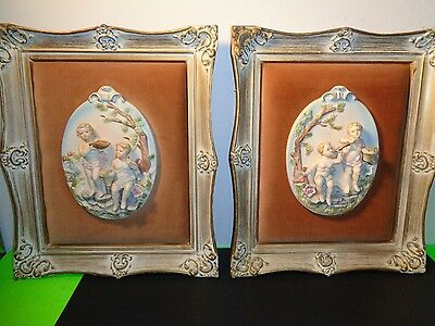 Antique Pair of Porcelain 3D Cherubs Framed Pictures with Velour Background