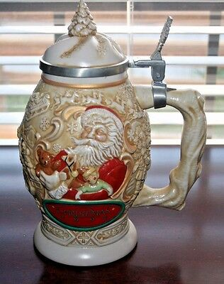 """1994 Avon FATHER CHRISTMAS STEIN, 9 1/2"""" Tall (including lid)"""
