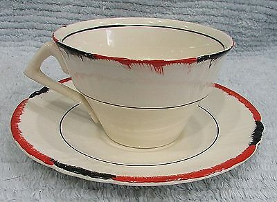 Old Myott Son England Hand Painted White Red Black Vintage Cup Saucer FREE S/H