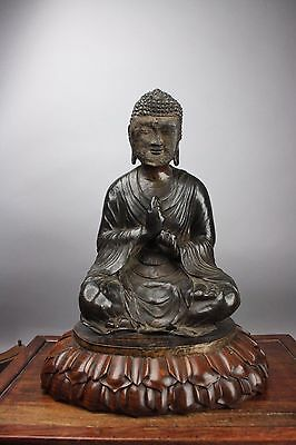 17th C. Chinese Bronze Seated Buddha On HuangHuaLi Lotus Stand