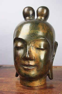 An Old Chinese Bronze Buddha Head Statue