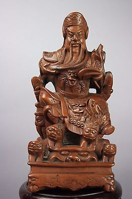 20th Chinese An Unusual HuangYangMu Carved Figure Of GuanDi