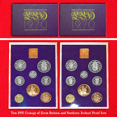 1970 Coinage Of Great Britain & Northern Ireland Proof Sets (2 Sets)Complete+Coa