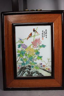 20th C. Chinese Famille Rose Porcelain Plaque, Marked