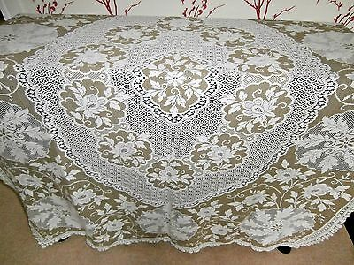 "STUNNING VINTAGE STYLE WHITE & BEIGE COTTON LACE LARGE TABLECLOTH ~ 68"" x 54"""