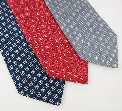 Lot of 3 VINEYARD VINES Custom Collection Ties 100% Silk Red Blue Gray USA Made