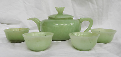 Antique / Vintage Hand Carved Chinese Celadon Jade Tea Service / Tea Pot & Cups