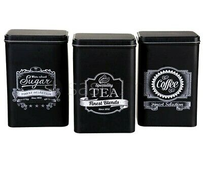 Black Retro 3Pc Tea Coffee Sugar Kitchen Storage Canisters Jar Tin Set Canister