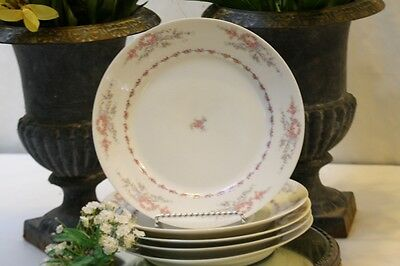 Limoges Plates Dinner French Schleiger 1321 Pink Roses Blue Ribbon CFH 9.75""
