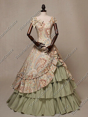 Victorian Southern Belle Maid Marian Gown Dress Women Halloween Costume 208